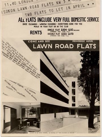 An advert for the Isokon buildings, Hampstead, London