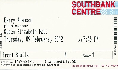 Barry Adamson live at Queen Elizabeth Hall, 9 February 2012 - my ticket
